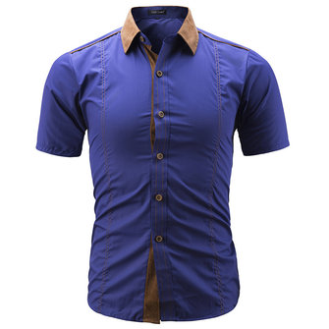 Mens Fashion Collar Stitching Sommar Slim Designer Skjortor