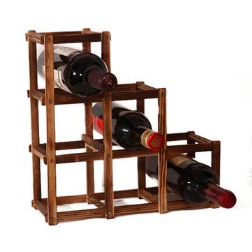 Soporte para vino tinto de madera 6 botella de montaje en rack de vino Cocina Botella de vidrio Titular de almacenamiento Organizador Titulares