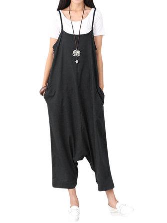 Women Sleeveless Spaghetti Strap Cotton Casual Jumpsuits