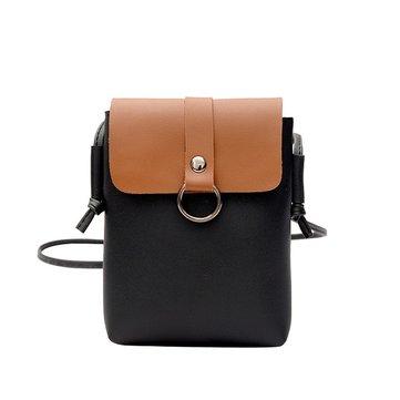 Mulheres PU Leather Casual Mini Cor Block Hasp Phone Bolsa Shoulder Bolsa Crossbody Bolsa