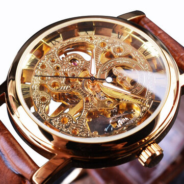 WIN358-5 Business Style Men Watch Transparent Golden Case Self-Wind Mechanical Watch