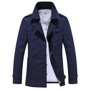 Mens vuelta abajo collar foso capa de color sólido de moda algodón lavado single-breaseted chaqueta
