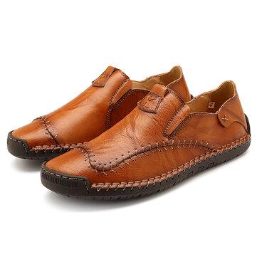 Menico Big Size Men Soft Hand Stitching Slip-on Loafers