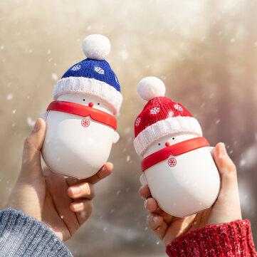 Christmas Snowman Portable Mini 2 in 1 Hand Warmer Power Bank 2 Gear 6000/10000mAh Long Battery Life USB Charging Double-sided Heating Electric Warming Treasure