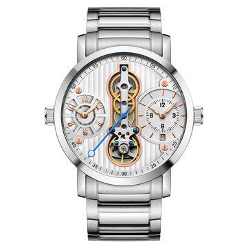 GUANQIN GJ16103 Skeleton Calendar Auto Mechanical Watches Business Style Men Wrist Watch