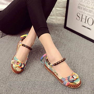 SOCOFY Size 5-11 Women Casual Flats Beading Round Toe Colorful Comfortable Flats Loafers Shoes