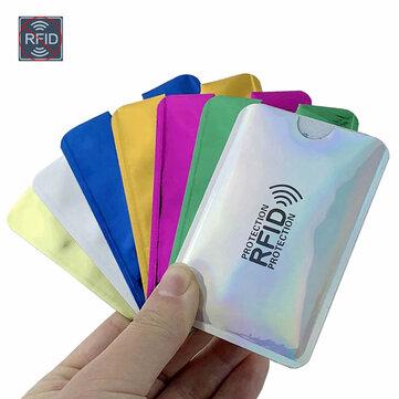 10pcs Anti Rfid Wallet Blocking Reader Lock Bank Protector Card Holder Id Bank Card Case Protection Metal Credit NFC Holder Aluminium 6x9.3cm