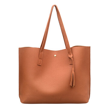 Women  Leisure Pure Color PU Tote Bag Handbag Simple Shoulder Bag