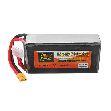 Zop Power 22 2v 5000mah 75c 6s Lipo Battery Xt60 Plug For Rc Drone Sale Banggood Com