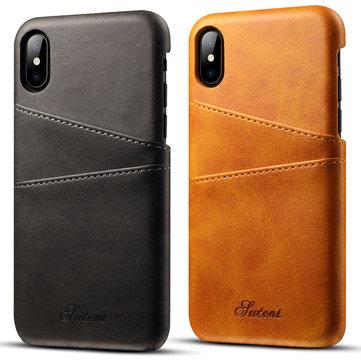 Premium Cowhide Leather Card Slot Beskyttelsesveske til iPhone X