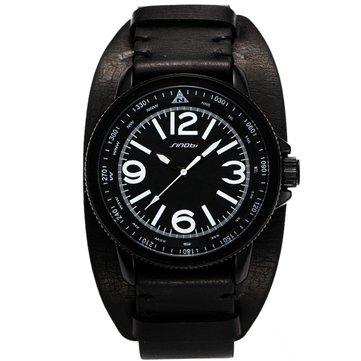 SINOBI 9556 Casual Men Sport Watch Fashion Army Military Leather Analog Wrist Watch