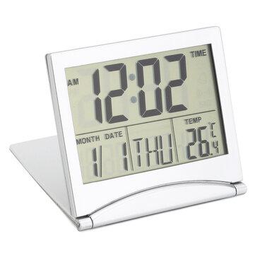 Digital LCD Screen Travel Alarm Clocks Table Desk Thermometer Timer Calendar
