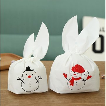 Navidad 50pcs Cute Pascua Conejito Cookies Bolsa Boda Decoración Nieve Man Oreja Plástico Candy Bolsa