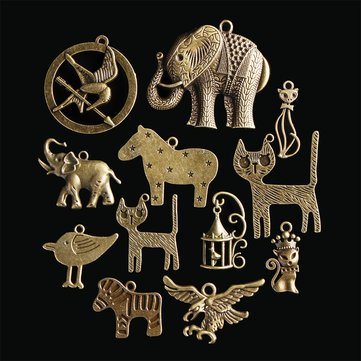 Buy 12Pcs Chinese Zodiac Vintage DIY Antique Bronze Pendant Decor Multi-Styling Metal Animal Ornaments  with Litecoins with Free Shipping on Gipsybee.com