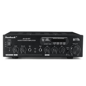 1200W 110V/220V bluetooth Dual Channel Karaoke Mic Input Digital Reverb Home Stereo Amplifier Support USB SD FM AUX Input