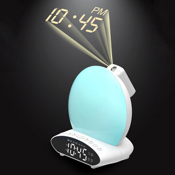 HD Time Projection LED Alarm Clock 7 Colors FM Radio Sleep Aid Snooze Mode Wake up Clock Device U Disk Music Speaker Coupon Code and price! - $26