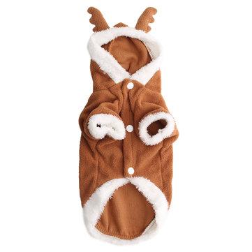 पालतू कुत्ता पिल्ला क्रिसमस लवली हिरण स्वेटर हुडी Jumpsuit कोट कपड़े आउटवेअर कोट्स
