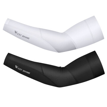 WEST BIKING Cycling Ice Fabric Breathable Running Arm Sleeve Cooler UV-Proof Fishing Running Fitness Elbow Pad Sports Arm Sleeves