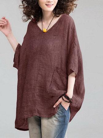 Plus Size Vintage Women Solid Color V-neck Half Sleeve Blouse