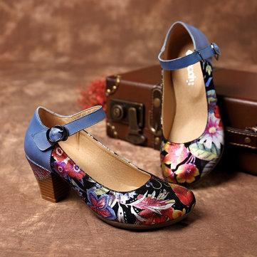 SOCOFY Натуральная Кожа Туфли на лодыжке с круглым носком Повседневная обувь