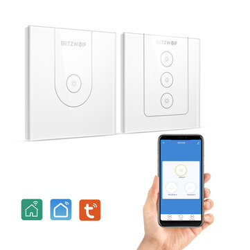 BlitzWolf@ BW_SS9 Tuya 800W Wi_Fi Smart Wall Light Switch Glass Touch Switch Single Pole  3 Way APP Remote Control Voice Control Time Schedule Work With Amazon Alexa and Google Assistant