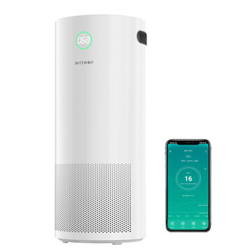 BlitzWolf BW AP2 360Anion Smart Air Purifier 500m or h CADR,H12 HEPA Filter,34db Quiet Air Cleaner,3 Mode,4 Gear Wind Speed,Timing Function with APP Control