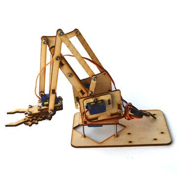 4DOF Brazo de madera Mecánico Kit de Brazo de Robot Mecánico de Madera con SG90 Servo para Arduino