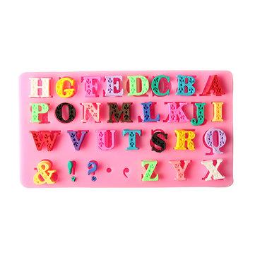 Bảng chữ cái Silicone Khuôn Chữ viết hoa Chữ hoa fondant Bánh quy Khuôn