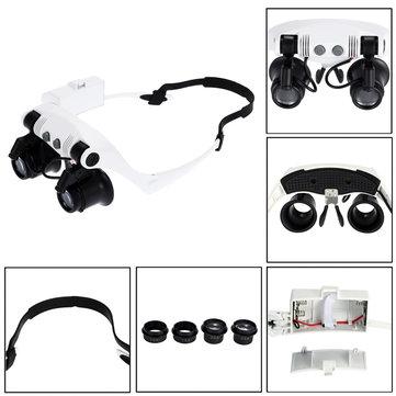 DANIU Portable Head Wearing Magnifying Glass 10X 15X 20X 25X LED Double Eye Repair Magnifier Loupe