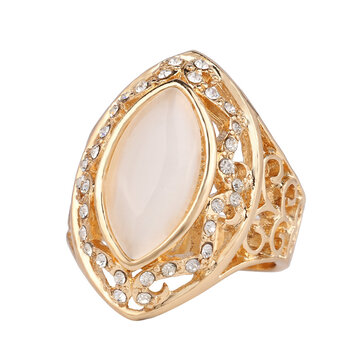 Ethnic White Rhinestone Finger Ring Hollow Oval Geometric Rings Vintage Jewelry for Women