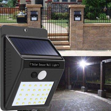Solar Power 30 LED PIR Motion Sensor Wall Light Waterproof Outdoor Path Yard Garden Security Lamp