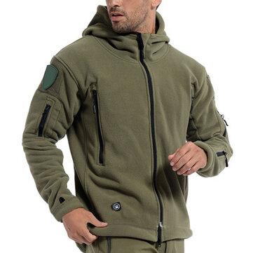 पुरुष सामरिक सैन्य शैली जिपर शीतकालीन फ्लीस गर्म हुड आउटडोर जैकेट