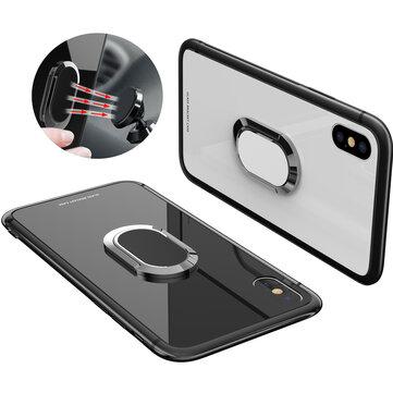 Bakeey 360 ° rotasjonsring Kickstand magnetisk glass beskyttelsesveske til iPhone X