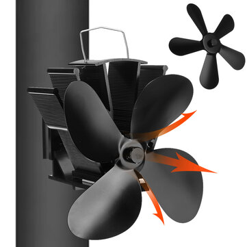 Loskii YL-604 4 Blade Heat Self-Power Wood Stove Fan Burner Efficient Fireplace Silent