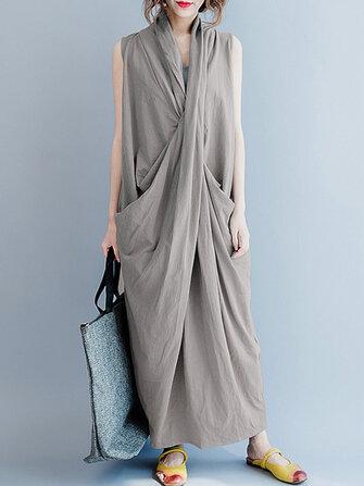 Mujer sin mangas V Cuello Pure Color Maxi Vestido