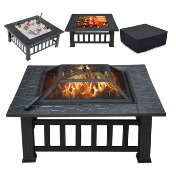 32inch Outdoor Metal BBQ Cooking Stove Firepit Square Table Backyard Patio Wood Burning Fire Pit with Spark Screen Log Poker and Cover