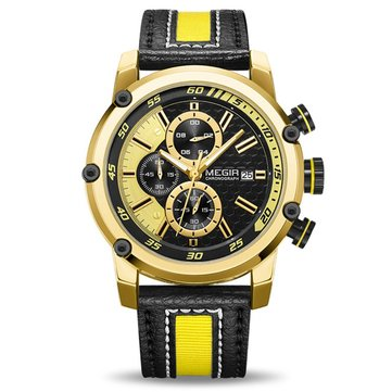 MEGIR 2079 Chronograph Sport Men Watch Date Display Leather Strap Quartz Watches