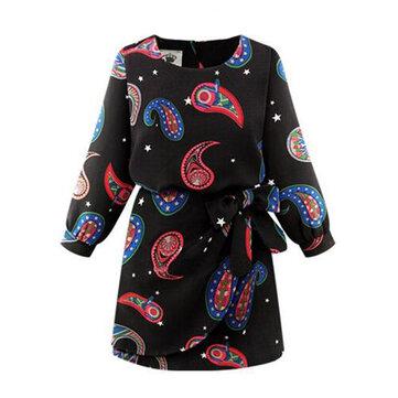 बेल्ट स्लिम सुरुचिपूर्ण मुद्रित लंबी आस्तीन दौर गर्दन महिला मिनी पोशाक