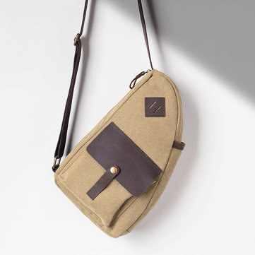 Men Canvas Patchwork Genuine Leather Multifunction Bag Casual Chest Bag