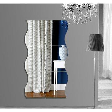 Honana DX-Y1 6st Söt Silver DIY Vågor Spegel Väggstämplar Hemvägg Sovrum Kontorsinredning