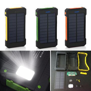 Bakeey F5 10000mAh Solar Panel LED Çift USB Bağlantı Noktaları DIY Güç Bankası Kılıf Batarya Şarj Aleti Takımları Kutu