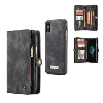 Caseme magnetisk avtakbar glidelås lommebok Cash Pocket Card Slots beskyttelsesveske til iPhone XS / X