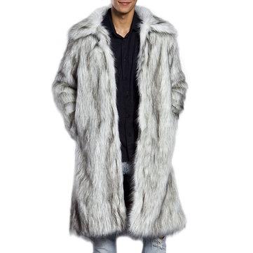 Abrigo de piel sintética cálido para hombre de invierno Bajar el cuello Chaqueta casual de estilo medio largo