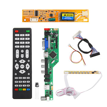 T.RD8503.03 Universal LCD LED TV Controller Driver Board TV/PC/VGA/HDMI/USB+7 Key Button+2ch 6bit 30pins LVDS Cable+1 Lamp Inverter