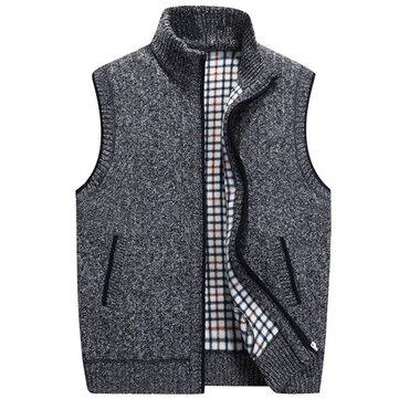 पुरुषों आरामदायक लूज बुना हुआ वेस्ट शीतकालीन आस्तीन स्वेटर स्टैंड कॉलर जिपर कार्डिगन 6 रंग