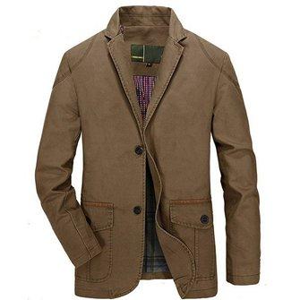 Mäns Business Casual Bomull Knappar Jacka Coats Vårhöst Comfort Outwear Suit