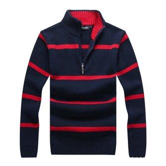पुरुषों शरद ऋतु शीतकालीन पट्टी खड़े कॉलर जिपर स्वेटर आरामदायक स्लिम फिट पुलओवर बुना हुआ कपड़ा