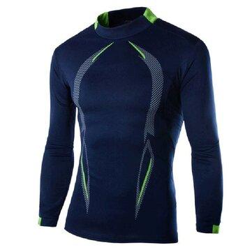 Mallas de secado rápido para hombres Camisetas deportivas de manga larga Trajes de entrenamiento