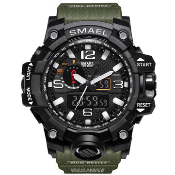 SMAEL 1545 Digital Watch Pure Color Band  Dual Display Waterproof Sport Analog Quartz Watch