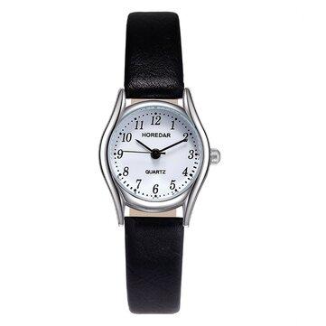 HOREDAR 3079 רטרו סגנון שעונים נשים שעונים קטן חייג רצועת עור קוורץ שעונים